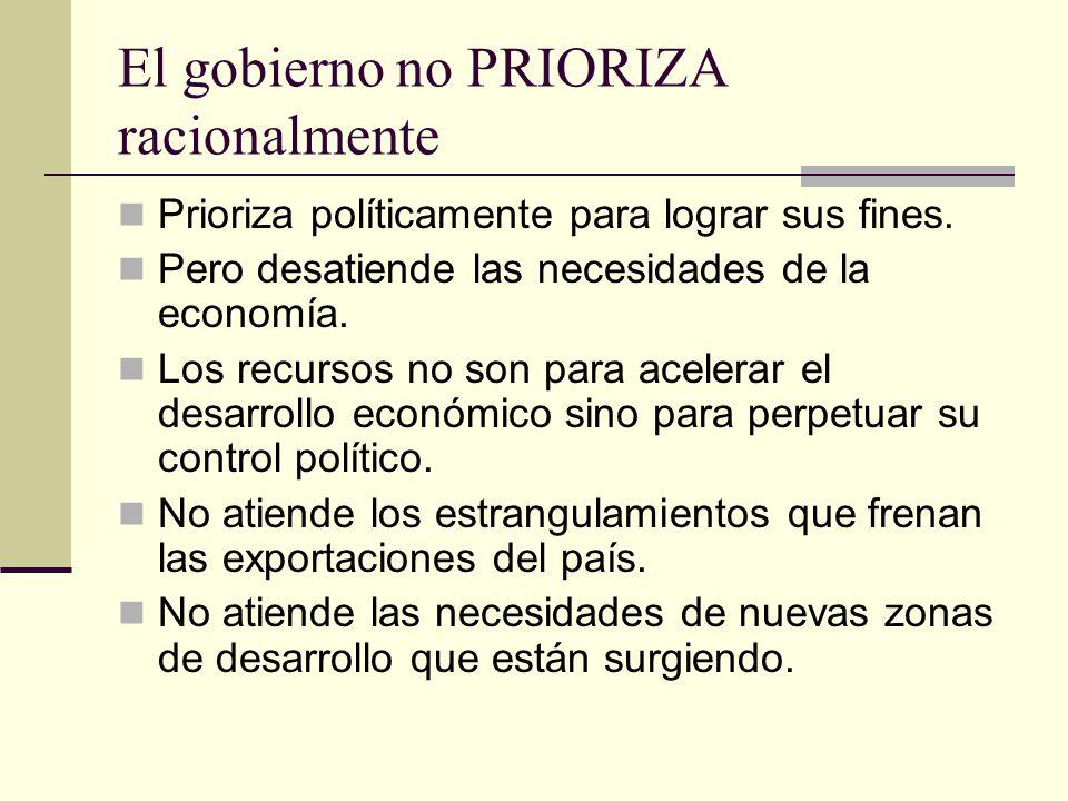 El gobierno no PRIORIZA racionalmente Prioriza políticamente para lograr sus fines.