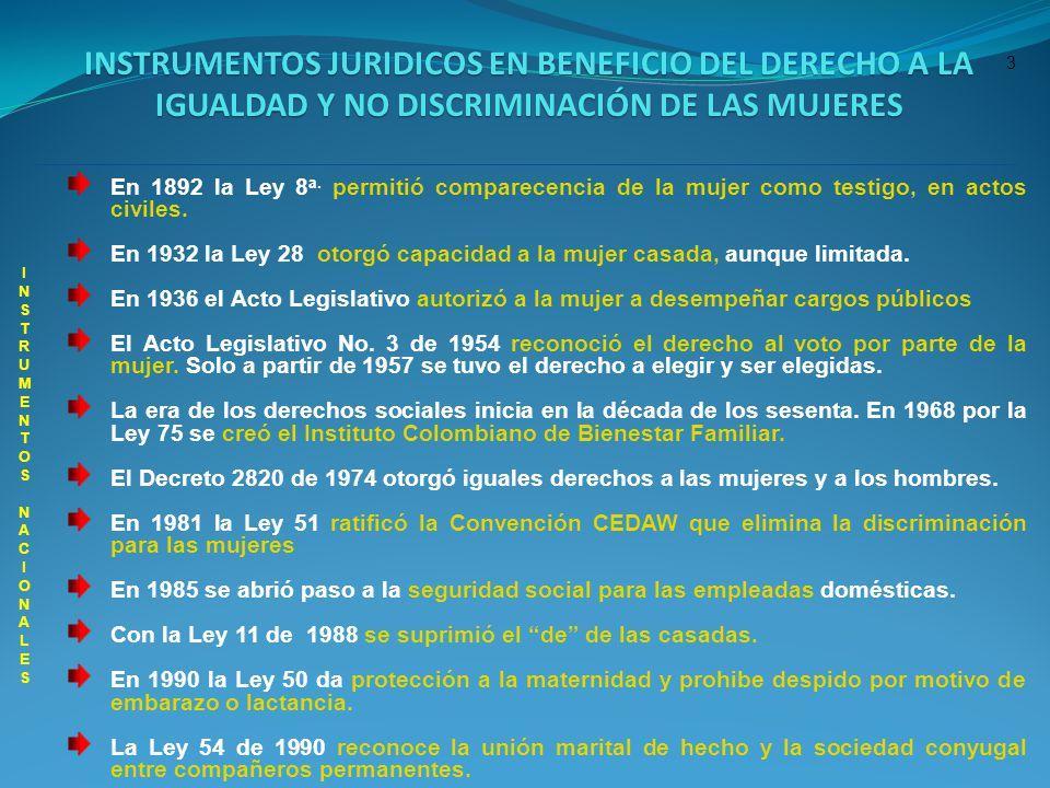 3 En 1892 la Ley 8 a. permitió comparecencia de la mujer como testigo, en actos civiles. En 1932 la Ley 28 otorgó capacidad a la mujer casada, aunque