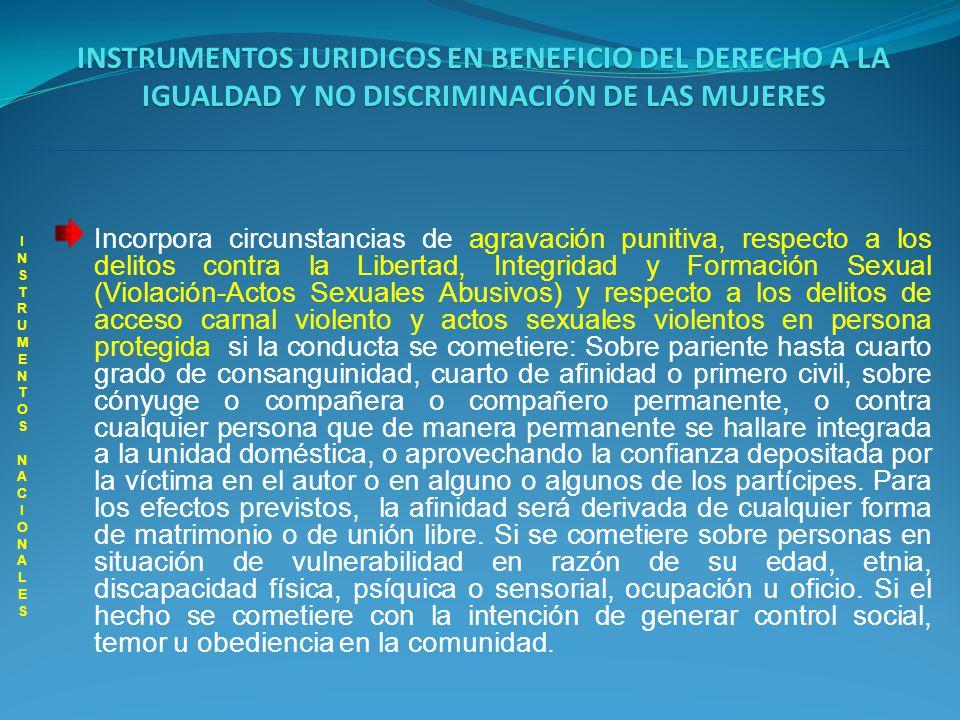 INSTRUMENTOS JURIDICOS EN BENEFICIO DEL DERECHO A LA IGUALDAD Y NO DISCRIMINACIÓN DE LAS MUJERES INSTRUMENTOS NACIONALES INSTRUMENTOS NACIONALES Incorpora circunstancias de agravación punitiva, respecto a los delitos contra la Libertad, Integridad y Formación Sexual (Proxenetismo- Inducción al a Prostitución; Constreñimiento a la Prostitución; Trata de Personas), si la conducta se cometiere: Respecto de pariente hasta cuarto grado de consanguinidad, cuarto de afinidad o primero civil, sobre cónyuge o compañera o compañero permanente, o contra cualquier persona que de manera permanente se hallare integrada a la unidad doméstica, o aprovechando la confianza depositada por la víctima en el autor o en alguno o algunos de los partícipes.