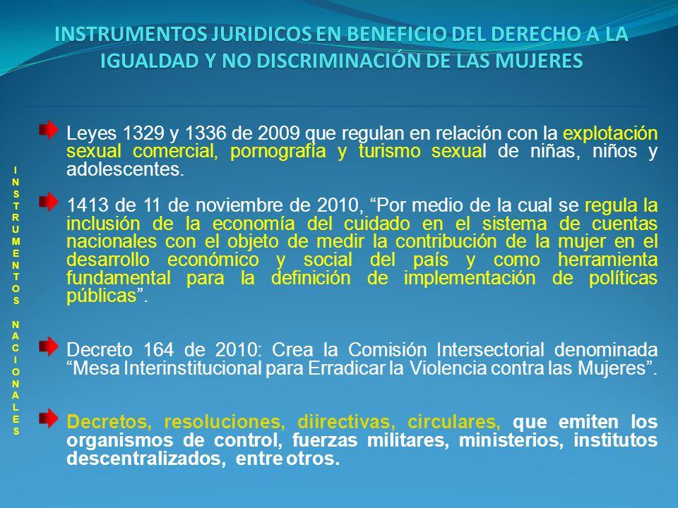 INSTRUMENTOS JURIDICOS EN BENEFICIO DEL DERECHO A LA IGUALDAD Y NO DISCRIMINACIÓN DE LAS MUJERES INSTRUMENTOS NACIONALES INSTRUMENTOS NACIONALES Leyes