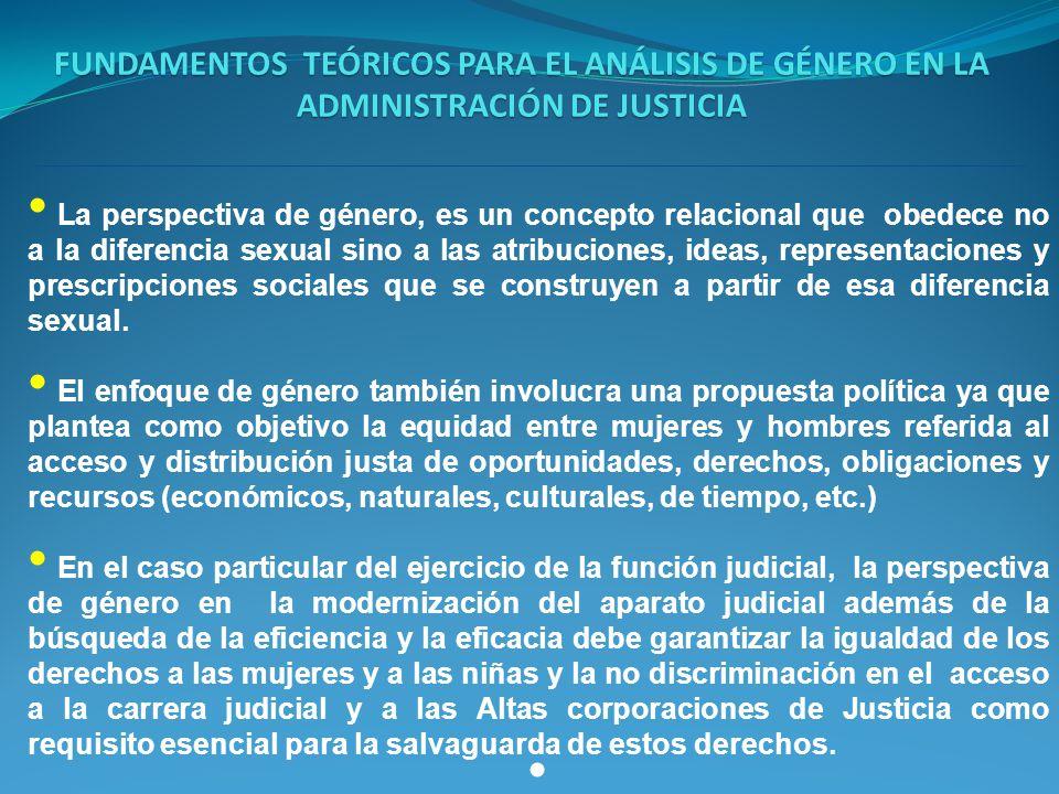 FUNDAMENTOS TEÓRICOS PARA EL ANÁLISIS DE GÉNERO EN LA ADMINISTRACIÓN DE JUSTICIA La perspectiva de género, es un concepto relacional que obedece no a