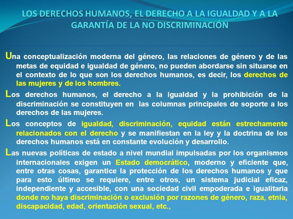 LOS DERECHOS HUMANOS, EL DERECHO A LA IGUALDAD Y A LA GARANTÍA DE LA NO DISCRIMINACIÓN U na conceptualización moderna del género, las relaciones de gé