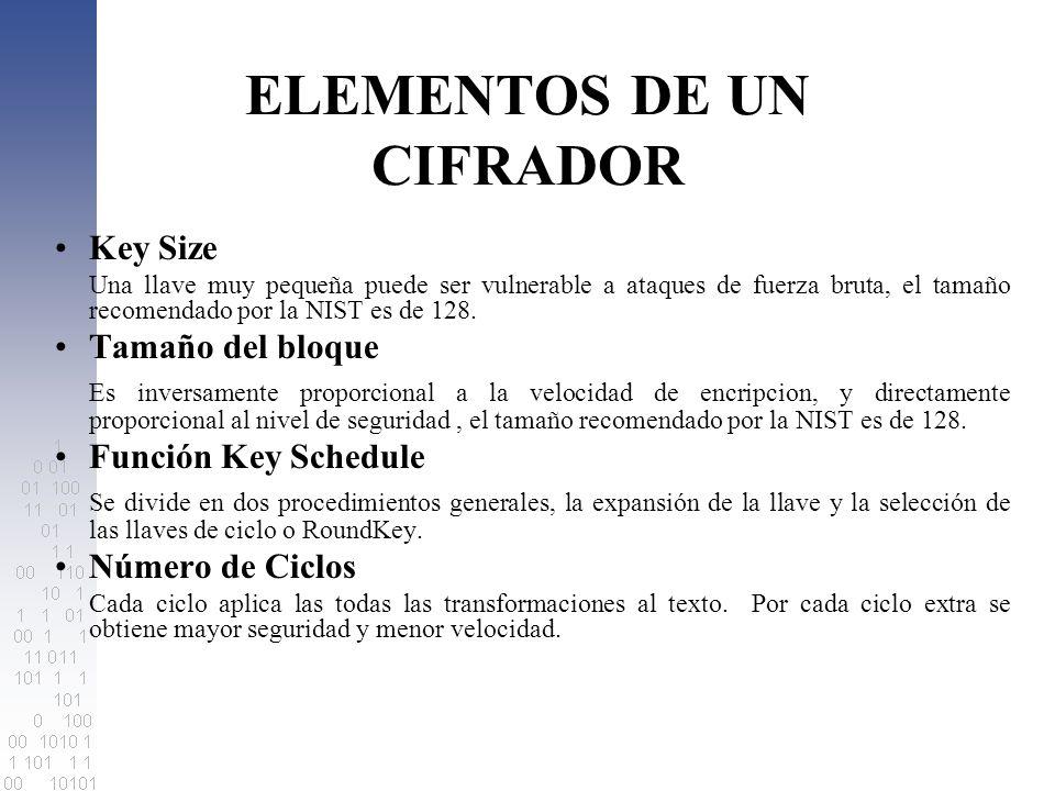 Key Schedule Esta compuesta por dos funciones Expansión de la Llave Se expande la llave así: para Nk < = 6, esta dado según: KeyExpansion(byte Key[4*Nk], word W[Nb*(Nr+1)]) { for(i = 0; i < Nk; i++) W[i] = (Key[4*i],Key[4*i+1],Key[4*i+2],Key[4*i+3]); for(i = Nk; i < Nb * (Nr + 1); i++) { temp = W[i - 1]; if (i % Nk == 0) temp = SubByte(RotByte(temp)) ^ Rcon[i / Nk]; W[i] = W[i - Nk] ^ temp; }