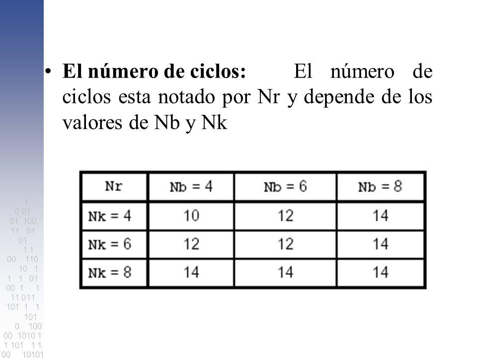 El número de ciclos: El número de ciclos esta notado por Nr y depende de los valores de Nb y Nk