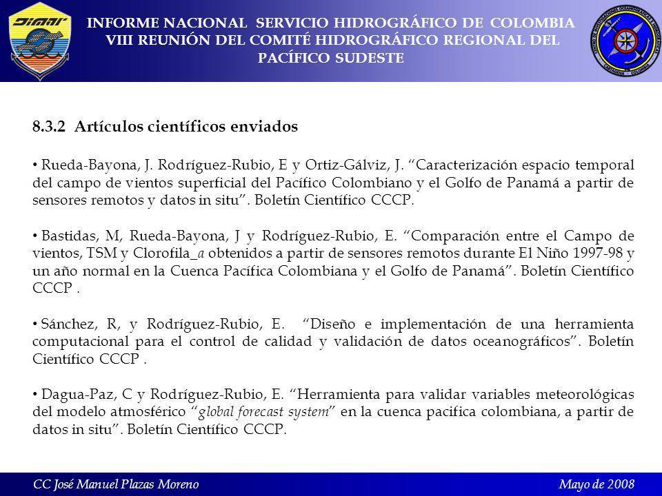 Mayo de 2008 8.3.2 Artículos científicos enviados Rueda-Bayona, J.