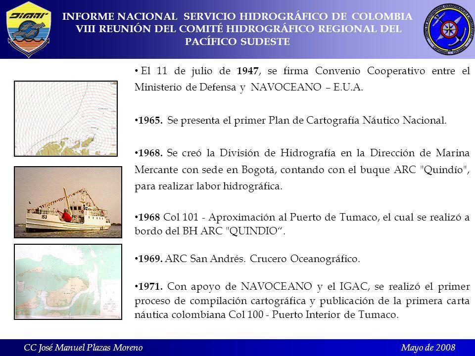 Mayo de 2008 El 11 de julio de 1947, se firma Convenio Cooperativo entre el Ministerio de Defensa y NAVOCEANO – E.U.A.