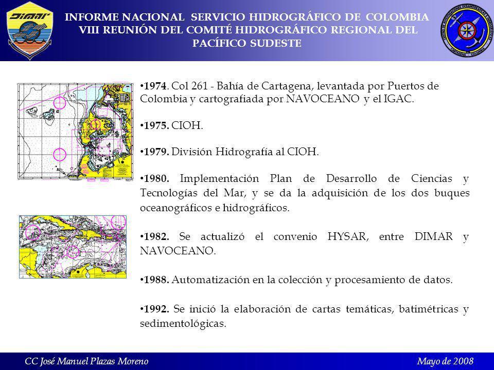 Mayo de 2008 8.2 Cruceros oceanográficos : CC José Manuel Plazas Moreno FechaÁrea de estudioResponsable Marzo de 2006CPC y áreas insularesJefe de crucero: PE.