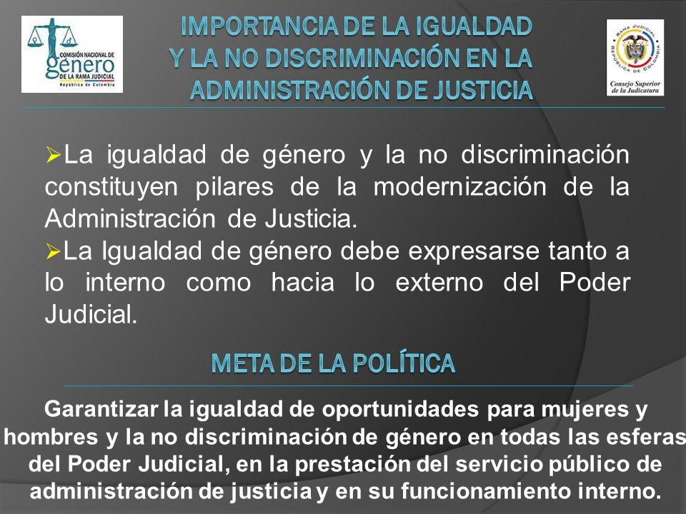 La igualdad de género y la no discriminación constituyen pilares de la modernización de la Administración de Justicia. La Igualdad de género debe expr