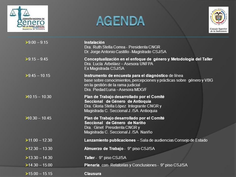 9.00 – 9.15Instalación Dra. Ruth Stella Correa - Presidenta CNGR Dr. Jorge Antonio Castillo - Magistrado CSJ/SA 9.15 – 9.45Conceptualización en el enf