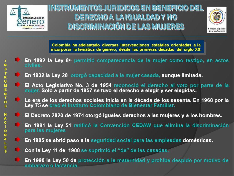 Colombia ha adelantado diversas intervenciones estatales orientadas a la incorporar la temática de género, desde las primeras décadas del siglo XX.