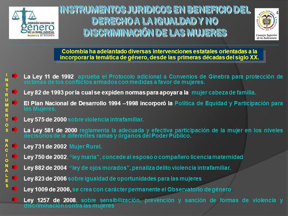 Colombia ha adelantado diversas intervenciones estatales orientadas a la incorporar la temática de género, desde las primeras décadas del siglo XX. 4