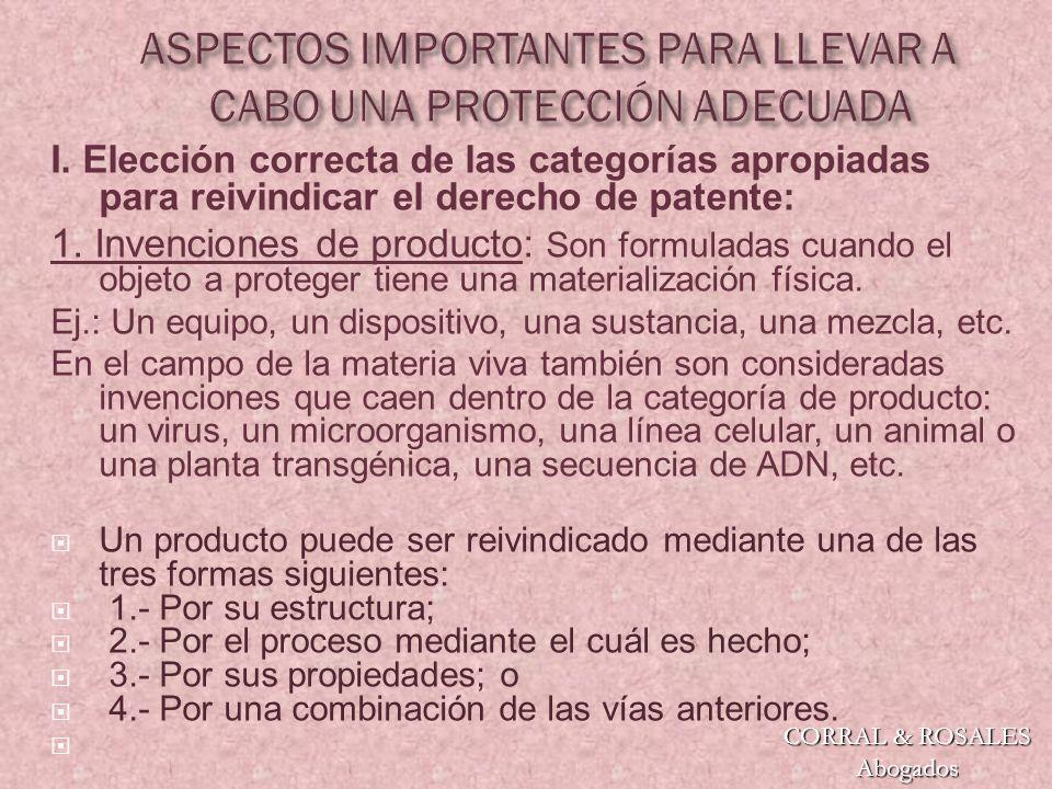 I.Elección correcta de las categorías apropiadas para reivindicar el derecho de patente: 1.