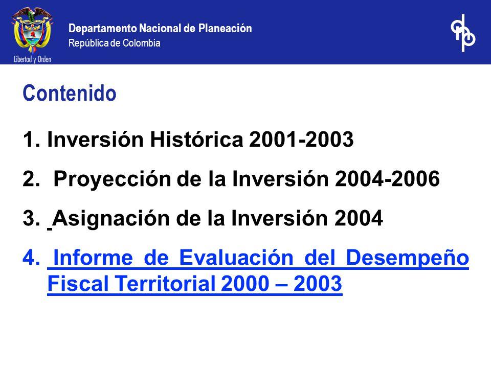 Departamento Nacional de Planeación República de Colombia 1.Inversión Histórica 2001-2003 2.