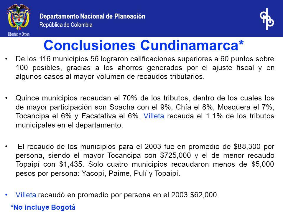 Departamento Nacional de Planeación República de Colombia De los 116 municipios 56 lograron calificaciones superiores a 60 puntos sobre 100 posibles,