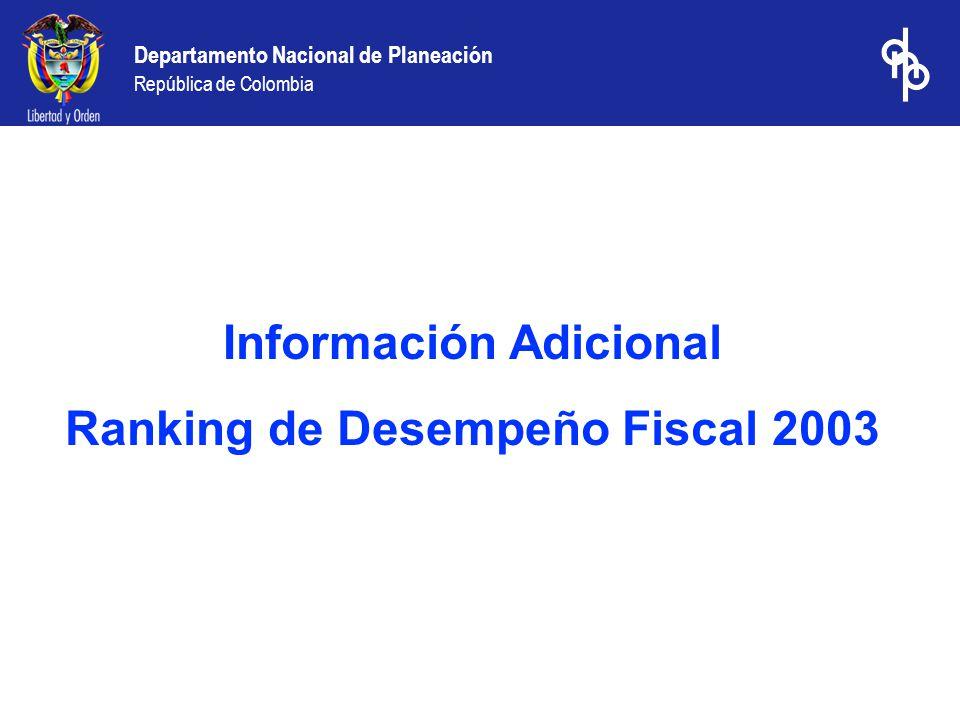 Departamento Nacional de Planeación República de Colombia Información Adicional Ranking de Desempeño Fiscal 2003