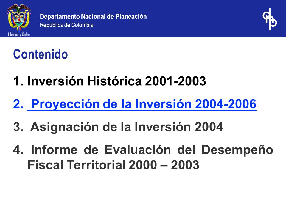 Departamento Nacional de Planeación República de Colombia 1.Inversión Histórica 2001-2003 2. Proyección de la Inversión 2004-2006 3. Asignación de la