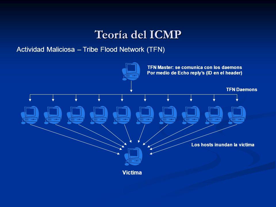Teoría del ICMP Actividad Maliciosa – Tribe Flood Network (TFN) TFN Master: se comunica con los daemons Por medio de Echo replys (ID en el header) TFN
