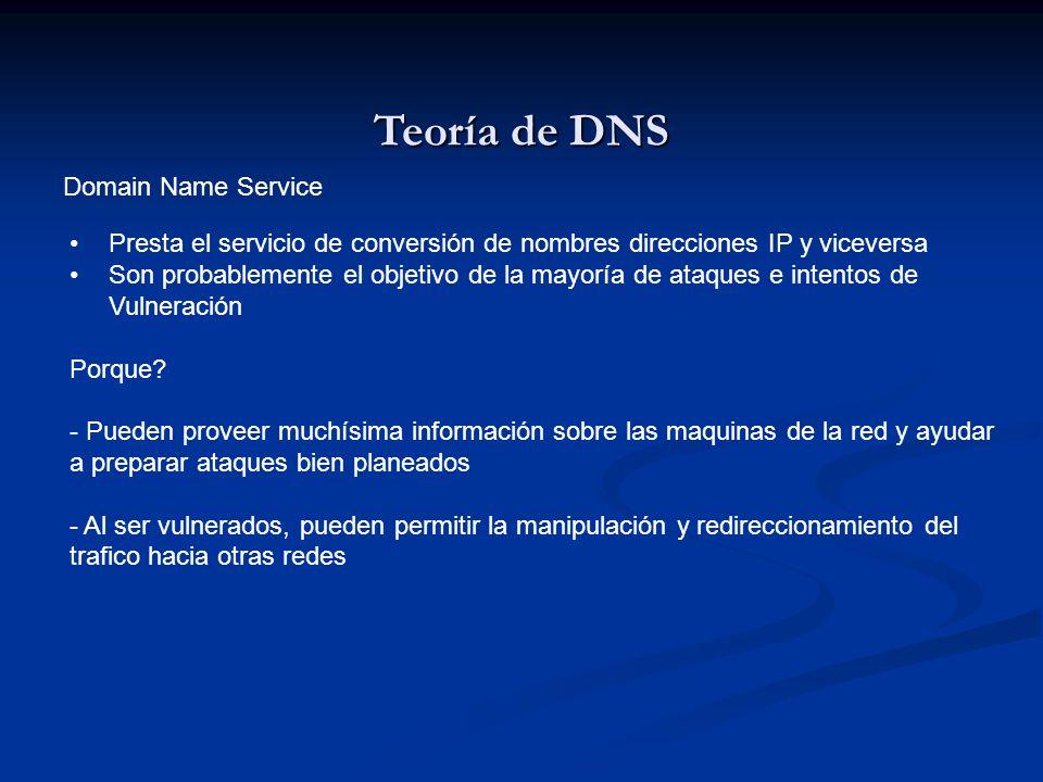 Teoría de DNS Domain Name Service Presta el servicio de conversión de nombres direcciones IP y viceversa Son probablemente el objetivo de la mayoría d