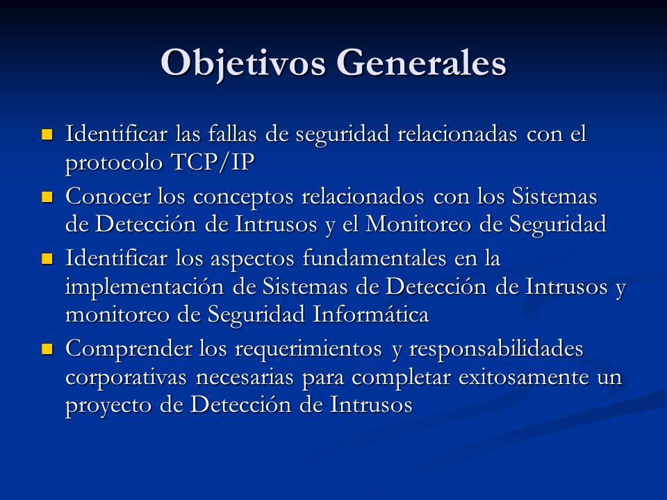 Objetivos Generales Identificar las fallas de seguridad relacionadas con el protocolo TCP/IP Identificar las fallas de seguridad relacionadas con el p
