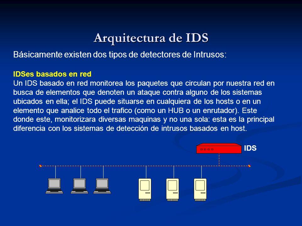 Arquitectura de IDS Básicamente existen dos tipos de detectores de Intrusos: IDSes basados en red Un IDS basado en red monitorea los paquetes que circulan por nuestra red en busca de elementos que denoten un ataque contra alguno de los sistemas ubicados en ella; el IDS puede situarse en cualquiera de los hosts o en un elemento que analice todo el trafico (como un HUB o un enrutador).
