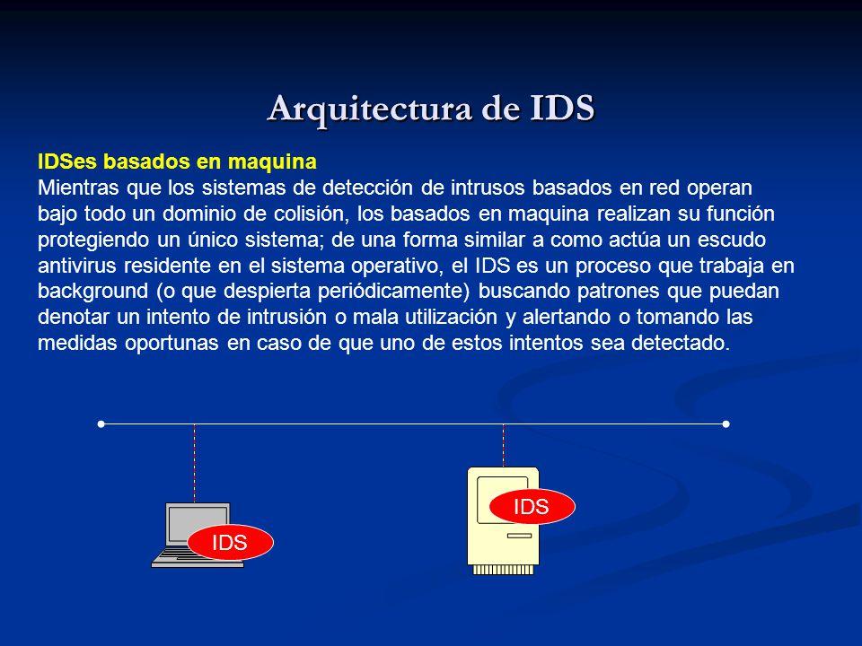 Arquitectura de IDS IDSes basados en maquina Mientras que los sistemas de detección de intrusos basados en red operan bajo todo un dominio de colisión, los basados en maquina realizan su función protegiendo un único sistema; de una forma similar a como actúa un escudo antivirus residente en el sistema operativo, el IDS es un proceso que trabaja en background (o que despierta periódicamente) buscando patrones que puedan denotar un intento de intrusión o mala utilización y alertando o tomando las medidas oportunas en caso de que uno de estos intentos sea detectado.