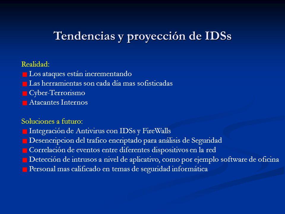Tendencias y proyección de IDSs Realidad: Los ataques están incrementando Las herramientas son cada día mas sofisticadas Cyber-Terrorismo Atacantes In