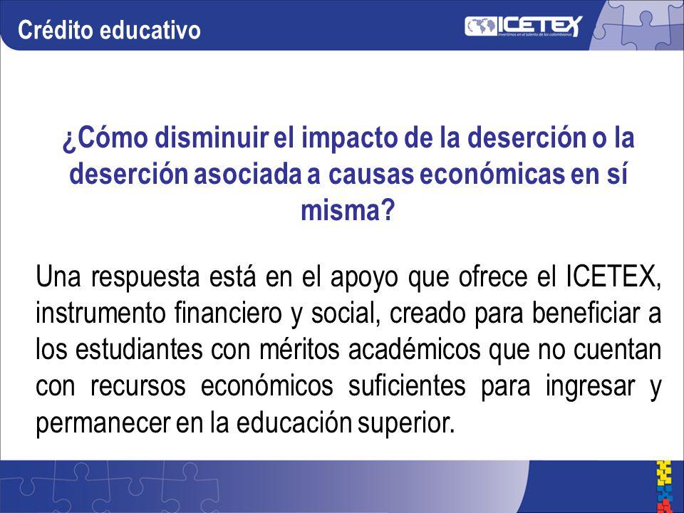 Crédito educativo ¿Cómo disminuir el impacto de la deserción o la deserción asociada a causas económicas en sí misma.
