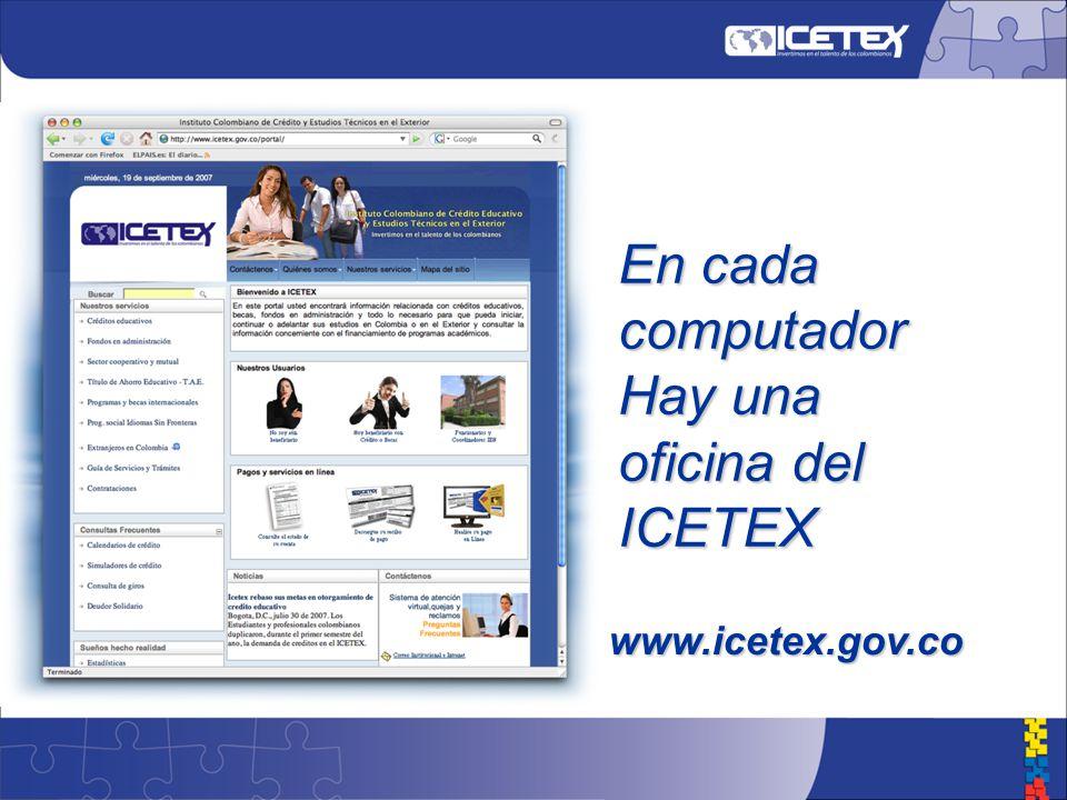 En cada computador Hay una oficina del ICETEX www.icetex.gov.co