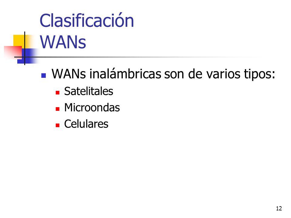 12 Clasificación WANs WANs inalámbricas son de varios tipos: Satelitales Microondas Celulares