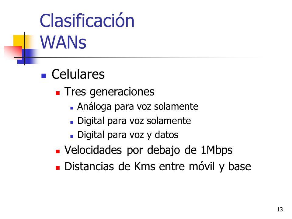 13 Clasificación WANs Celulares Tres generaciones Análoga para voz solamente Digital para voz solamente Digital para voz y datos Velocidades por debaj