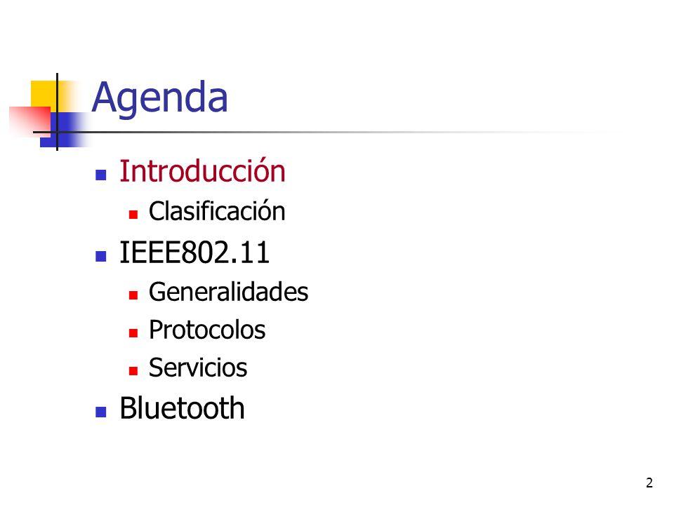 2 Agenda Introducción Clasificación IEEE802.11 Generalidades Protocolos Servicios Bluetooth