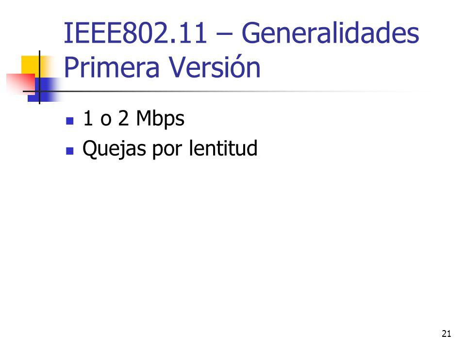 21 IEEE802.11 – Generalidades Primera Versión 1 o 2 Mbps Quejas por lentitud