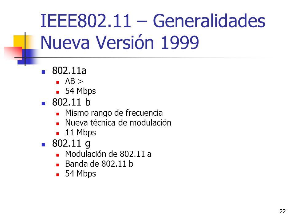 22 IEEE802.11 – Generalidades Nueva Versión 1999 802.11a AB > 54 Mbps 802.11 b Mismo rango de frecuencia Nueva técnica de modulación 11 Mbps 802.11 g