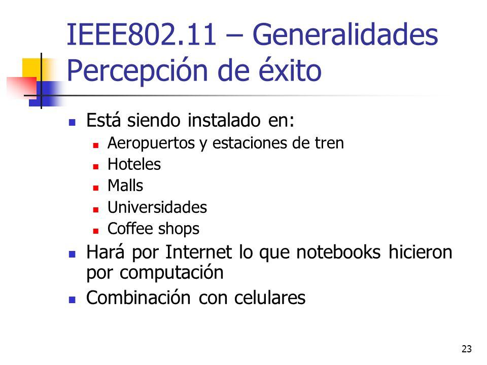 23 IEEE802.11 – Generalidades Percepción de éxito Está siendo instalado en: Aeropuertos y estaciones de tren Hoteles Malls Universidades Coffee shops