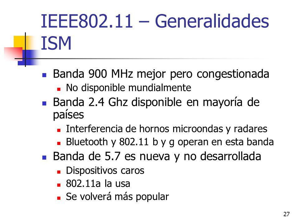27 IEEE802.11 – Generalidades ISM Banda 900 MHz mejor pero congestionada No disponible mundialmente Banda 2.4 Ghz disponible en mayoría de países Inte