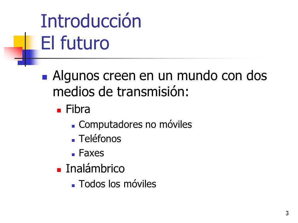 3 Introducción El futuro Algunos creen en un mundo con dos medios de transmisión: Fibra Computadores no móviles Teléfonos Faxes Inalámbrico Todos los