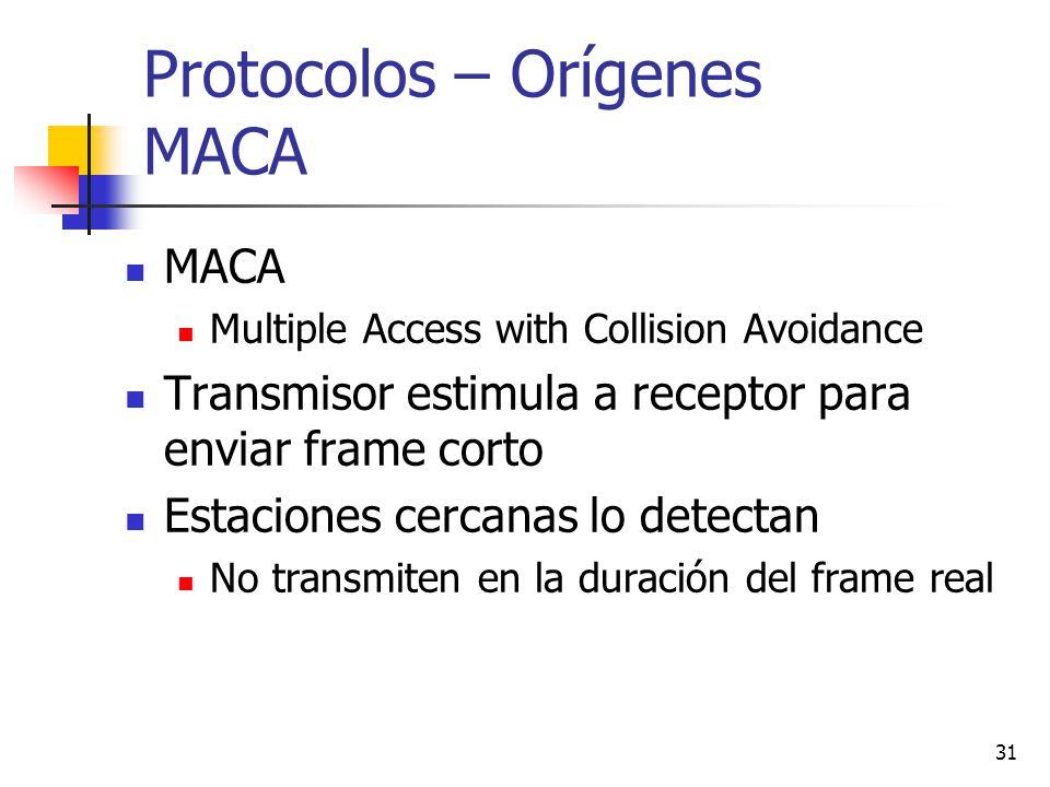 31 Protocolos – Orígenes MACA MACA Multiple Access with Collision Avoidance Transmisor estimula a receptor para enviar frame corto Estaciones cercanas