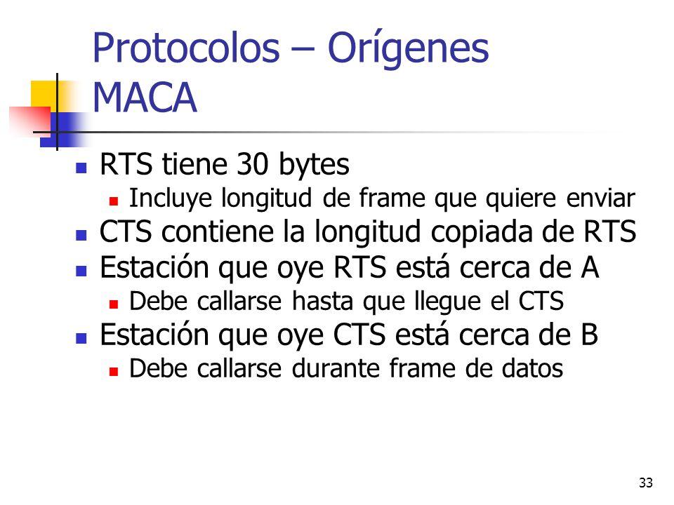 33 Protocolos – Orígenes MACA RTS tiene 30 bytes Incluye longitud de frame que quiere enviar CTS contiene la longitud copiada de RTS Estación que oye