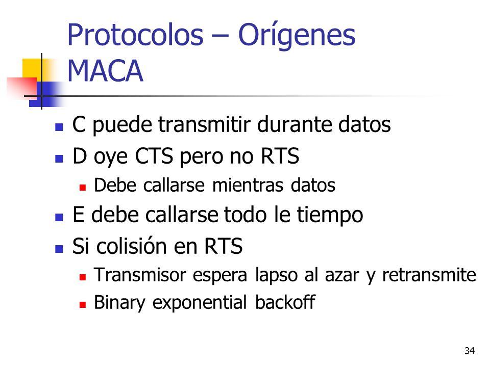 34 Protocolos – Orígenes MACA C puede transmitir durante datos D oye CTS pero no RTS Debe callarse mientras datos E debe callarse todo le tiempo Si co