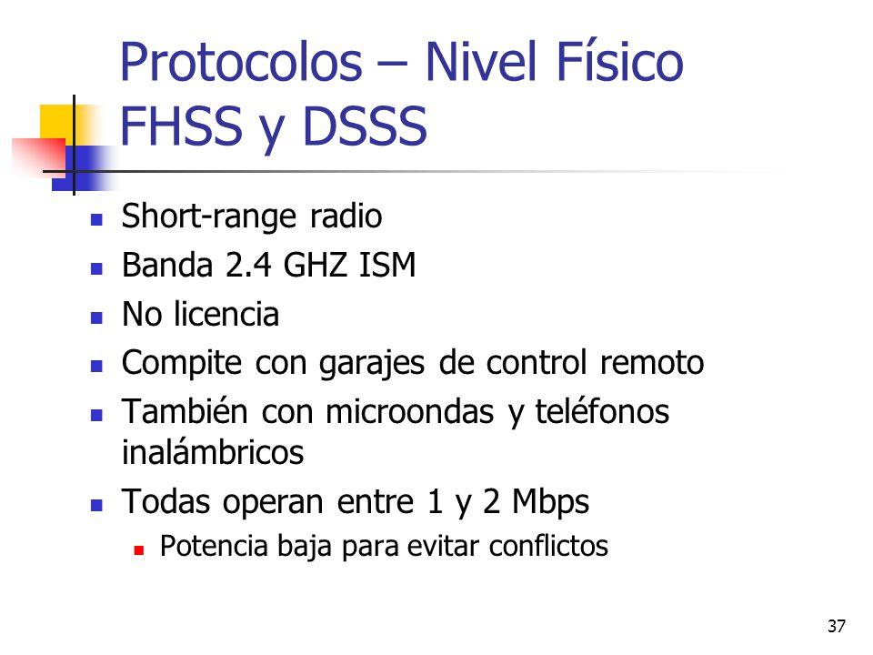 37 Protocolos – Nivel Físico FHSS y DSSS Short-range radio Banda 2.4 GHZ ISM No licencia Compite con garajes de control remoto También con microondas
