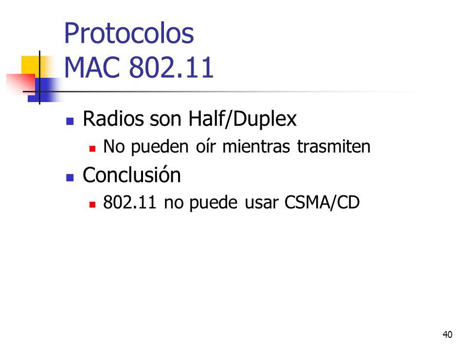 40 Protocolos MAC 802.11 Radios son Half/Duplex No pueden oír mientras trasmiten Conclusión 802.11 no puede usar CSMA/CD