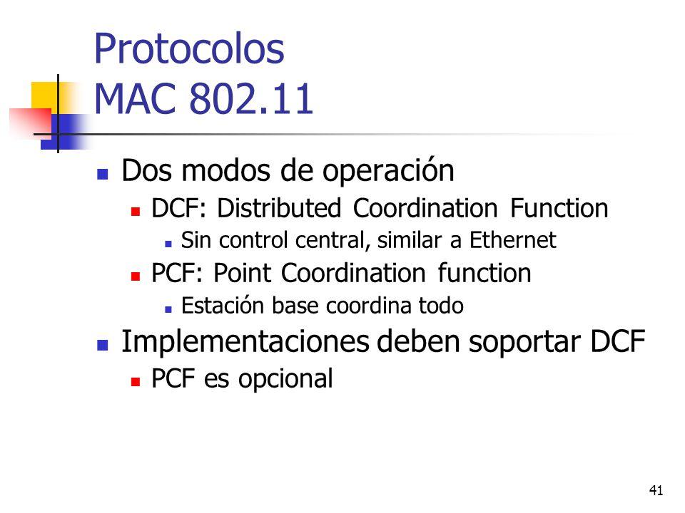 41 Protocolos MAC 802.11 Dos modos de operación DCF: Distributed Coordination Function Sin control central, similar a Ethernet PCF: Point Coordination