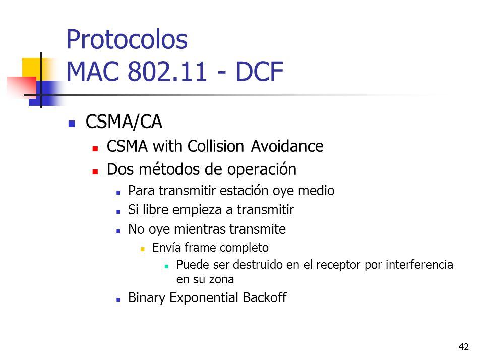 42 Protocolos MAC 802.11 - DCF CSMA/CA CSMA with Collision Avoidance Dos métodos de operación Para transmitir estación oye medio Si libre empieza a tr