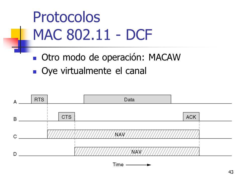 43 Protocolos MAC 802.11 - DCF Otro modo de operación: MACAW Oye virtualmente el canal