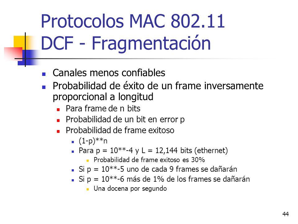 44 Protocolos MAC 802.11 DCF - Fragmentación Canales menos confiables Probabilidad de éxito de un frame inversamente proporcional a longitud Para fram