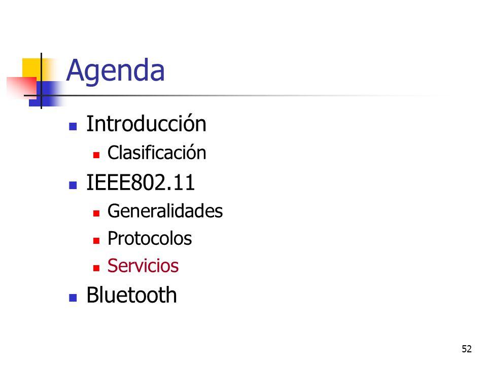 52 Agenda Introducción Clasificación IEEE802.11 Generalidades Protocolos Servicios Bluetooth