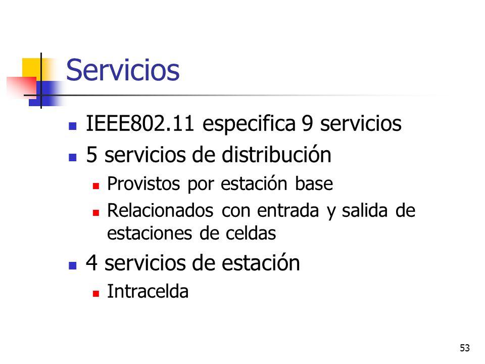 53 Servicios IEEE802.11 especifica 9 servicios 5 servicios de distribución Provistos por estación base Relacionados con entrada y salida de estaciones
