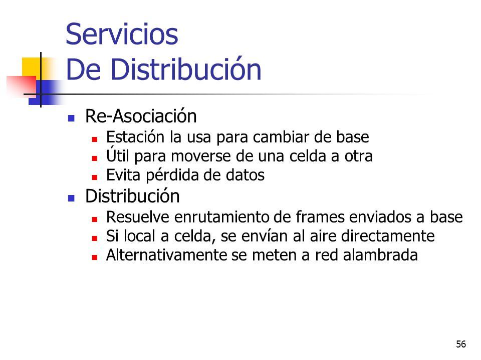 56 Servicios De Distribución Re-Asociación Estación la usa para cambiar de base Útil para moverse de una celda a otra Evita pérdida de datos Distribuc