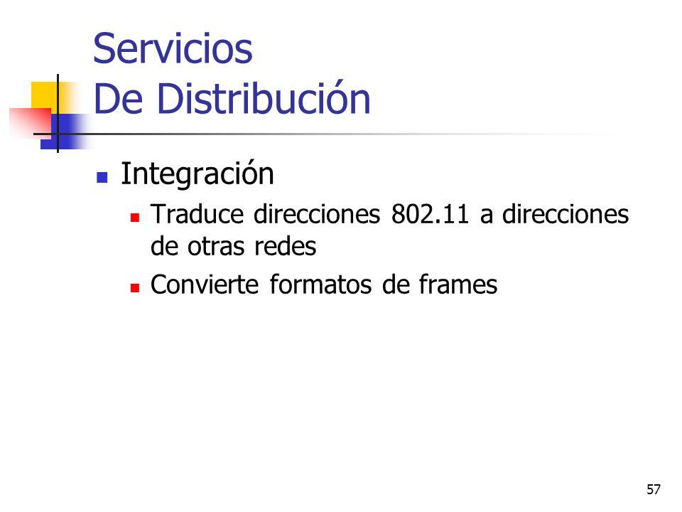 57 Servicios De Distribución Integración Traduce direcciones 802.11 a direcciones de otras redes Convierte formatos de frames