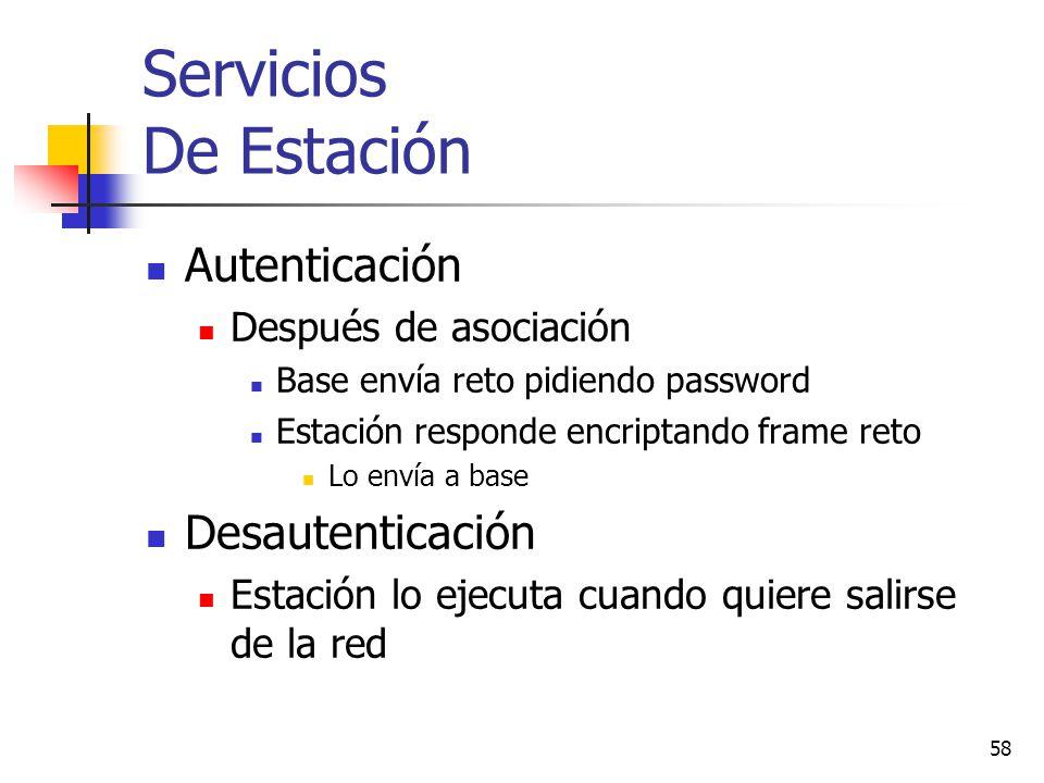 58 Servicios De Estación Autenticación Después de asociación Base envía reto pidiendo password Estación responde encriptando frame reto Lo envía a bas